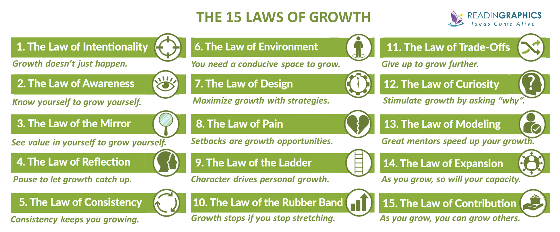 The 15 Invaluable Laws of Growth summary_overview of 15 laws